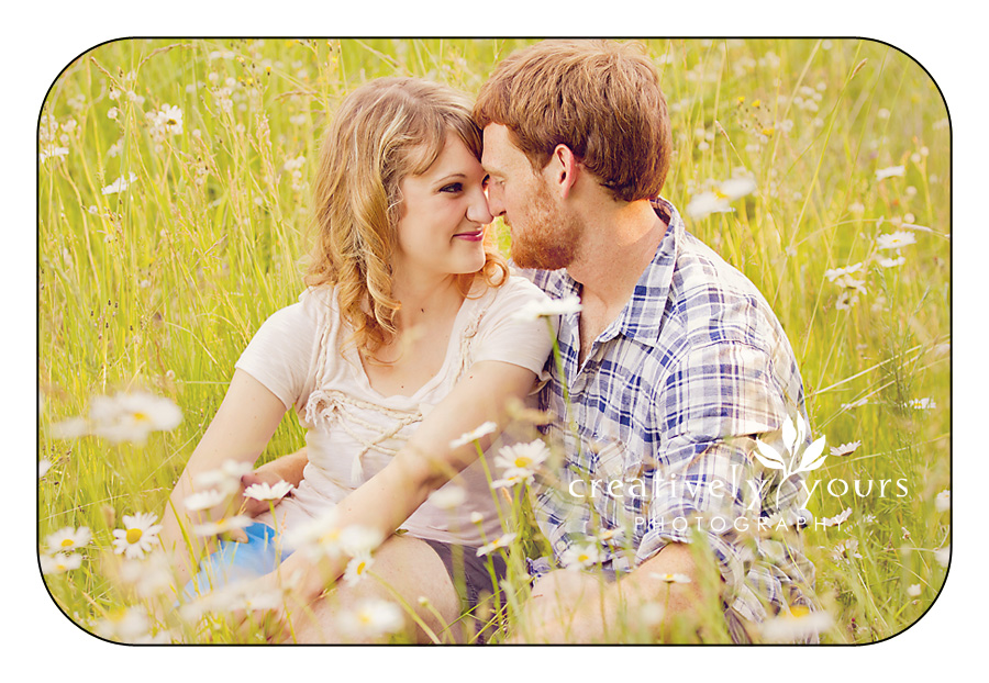 Romantic Engagement Pictures in a field Spokane WA