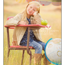 Sweet Child's portrait with back to school theme