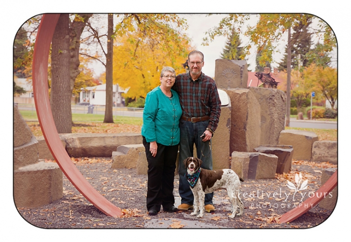 Picture couple with their dog in Spokane WA