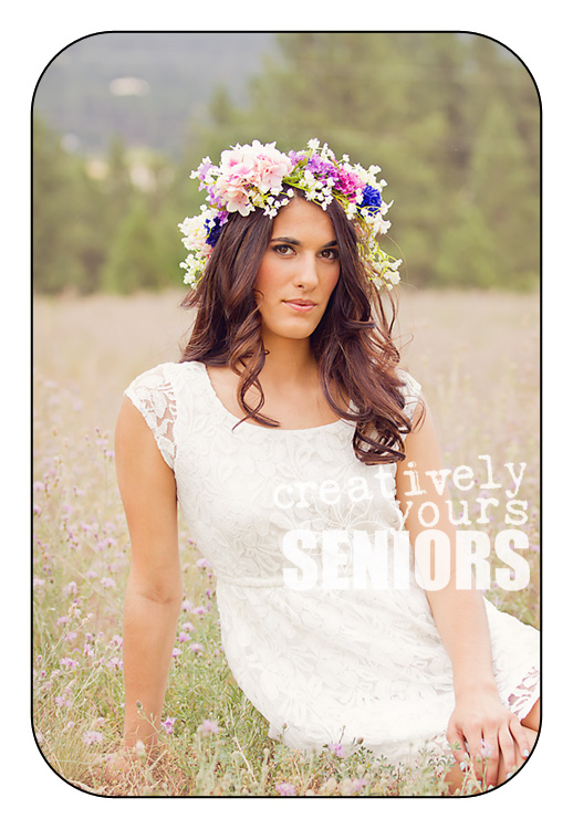 high school senior pictures with flower wreath in Spokane WA