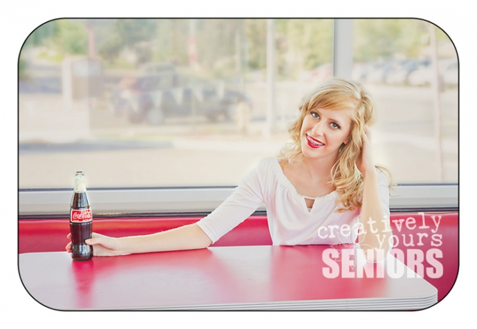 Retro senior pictures in a 50s style diner in Spokane WA