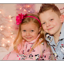 Brother and Sister Christmas Pictures in Studio in Spokane WA
