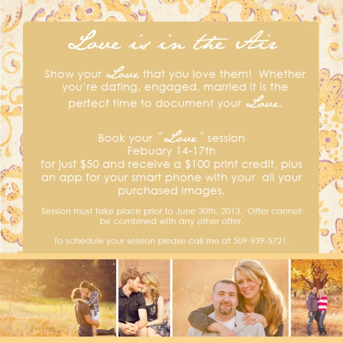 Special on Photography sessions for engaged couples, anniversarys,and dating couples