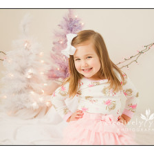 Adorable Little girl in Christmas studio set in Spokane WA
