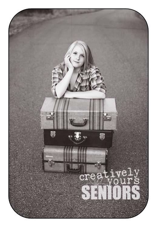 Fun Senior pictures with vintage suitcases in Spokane WA