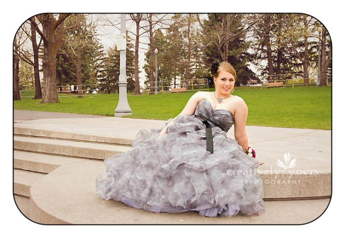 Beautiful High School girl in her prom dress in Spokane