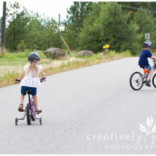 Brother and Sister riding bikes in Spokane WA