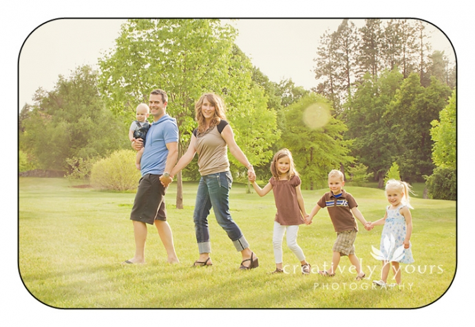 Adorable Family Portraits in blue and brown clothing in Spokane WA by Creatively Yours