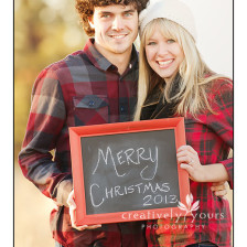 Adorable photo of a couple wishing a Merry Christmas by Spokane photographer, Creatively Yours
