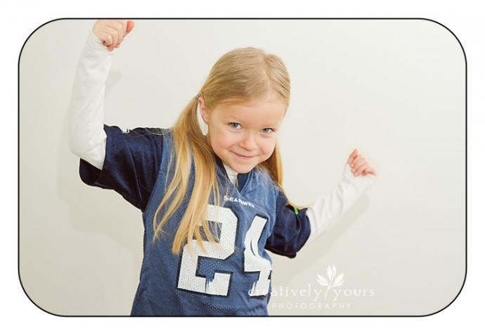 Little girl showing her team spirit- Go Seahawks!- in Spokane WA