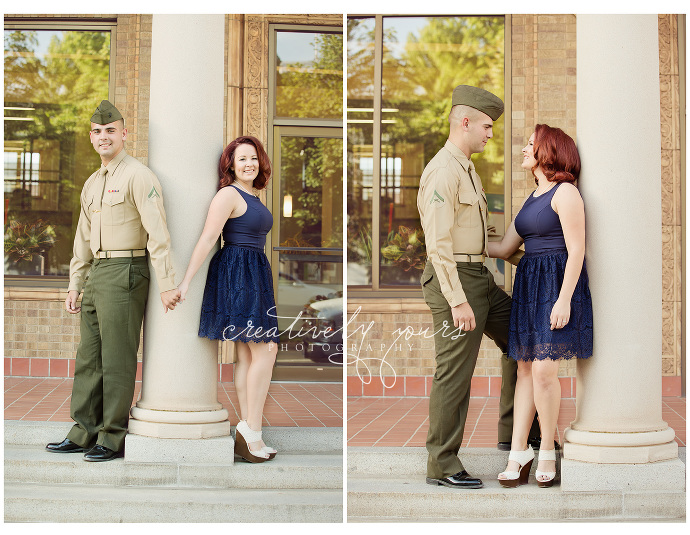 Marine in his service uniform for engagement photos